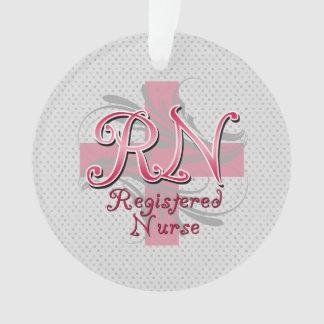 RN Registered Nurse, Pink Cross Swirls Ornament