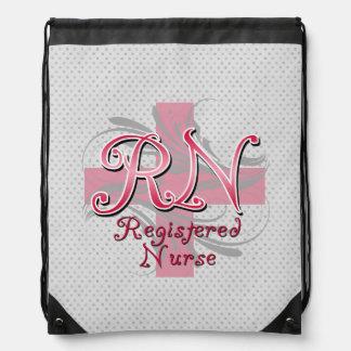 RN Registered Nurse Pink Cross Swirls Drawstring Bags