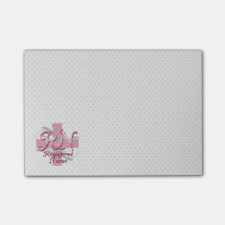 RN Registered Nurse, Pink Cross Swirls Post-it® Notes