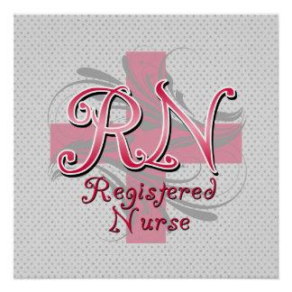 RN Registered Nurse, Pink Cross Swirls Poster