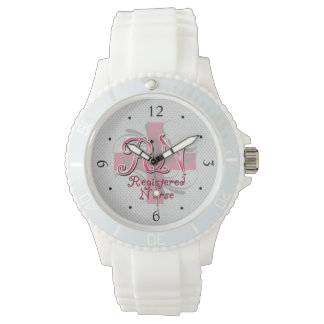 RN Registered Nurse, Pink Cross Swirls Watch