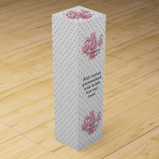 RN Registered Nurse, Pink Cross Swirls Wine Gift Box