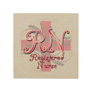 RN Registered Nurse, Pink Cross Swirls Wood Wall Decor