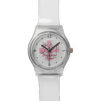 RN Registered Nurse, Pink Cross Swirls Wrist Watch