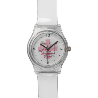 RN Registered Nurse, Pink Cross Swirls Wristwatch