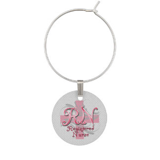RN Registered Nurse, Pink Cross Swirls Wine Charms