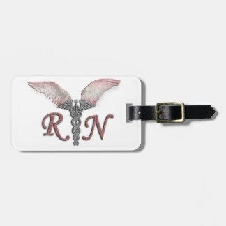 RN Registered Nurse with Angel Wings Bag Tag