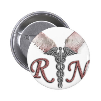 RN Registered Nurse with Angel Wings Pinback Button