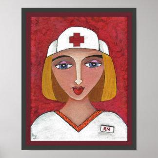 RN rubio - oficio de enfermera/impresión de la enf Poster