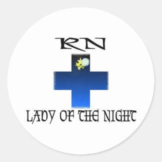 RN-Señora de la noche Pegatina Redonda