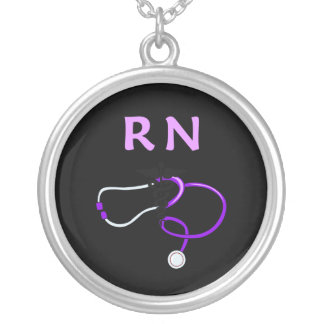 RN Stethoscope Silver Plated Necklace