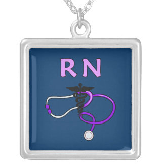 RN Stethoscope Square Pendant Necklace