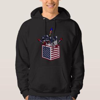 RN USA FLAG BOX O FIREWORKS - REGISTERED NURSE HOODIE