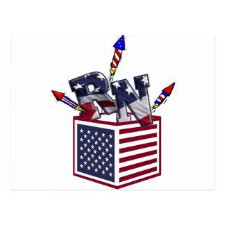 RN USA FLAG BOX O FIREWORKS - REGISTERED NURSE POST CARD