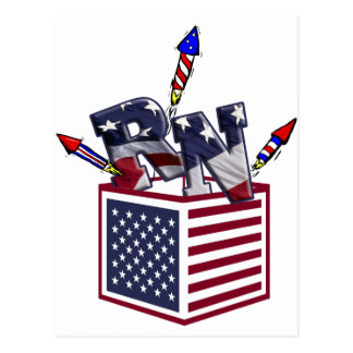 RN USA FLAG BOX O FIREWORKS - REGISTERED NURSE POSTCARD