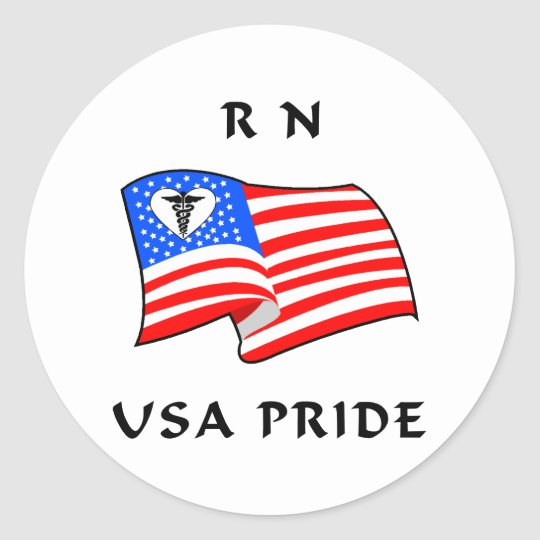RN USA Pride Classic Round Sticker