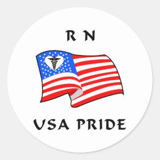 RN USA Pride Round Sticker