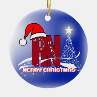 RN WHITE STARS CHRISTMAS ORNAMENT NURSE SANTA HAT
