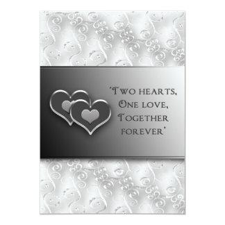 """Rnewing jura - invitación/dos corazones - gris/la invitación 5"""" x 7"""""""