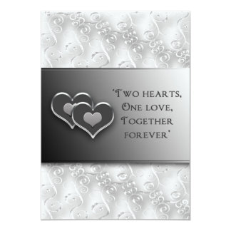 Rnewing Vows - Invitation/Two Hearts - Gray/Silver Card