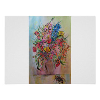 Roach with Flowers in Vase Poster