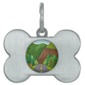 Road and mountain pet name tag