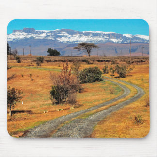Road And Snow-Capped Cathedral Range, Champagne Mouse Pad