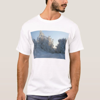 Road and Snow covered trees T-Shirt