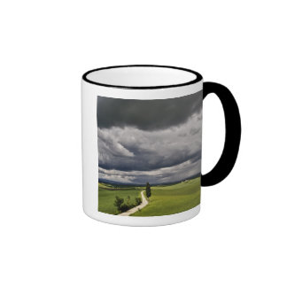 Road and storm clouds, rural Tuscany region, Ringer Coffee Mug