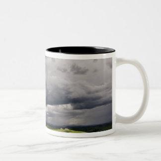 Road and storm clouds, rural Tuscany region, Two-Tone Coffee Mug