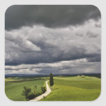 Road and storm clouds, rural Tuscany region, Square Sticker