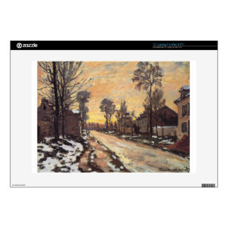 Road at Louveciennes, Melting Snow, Sunset Laptop Skins
