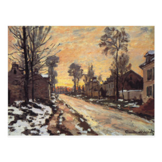 Road at Louveciennes, Melting Snow, Sunset Postcard