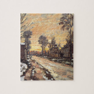 Road at Louveciennes, Melting Snow, Sunset Puzzle