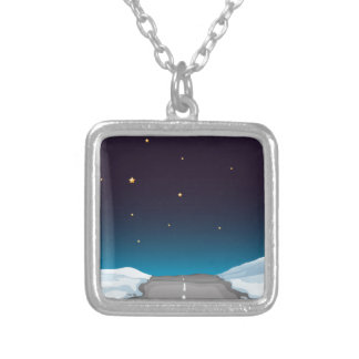 Road at night square pendant necklace