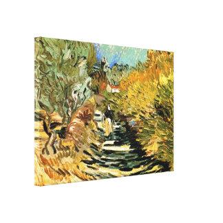 Road at Saint-Remy Female Figure, Vincent van Gogh Canvas Print