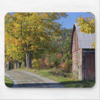 Road beside classic rural barn/farm in autumn, 2 mouse pad