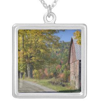 Road beside classic rural barn/farm in autumn, 2 square pendant necklace