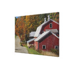 Road beside classic rural barn/farm in autumn, canvas print