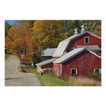 Road beside classic rural barn/farm in autumn, photo print