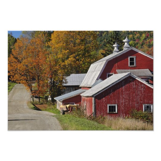 Road beside classic rural barn/farm in autumn, photo print