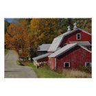 Road beside classic rural barn/farm in autumn, poster