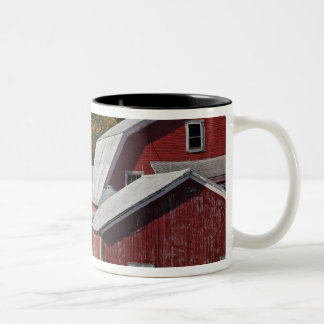 Road beside classic rural barn/farm in autumn, Two-Tone coffee mug