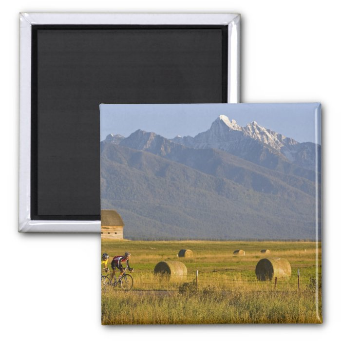 Road bicyclists race down back country road in 2 inch square magnet