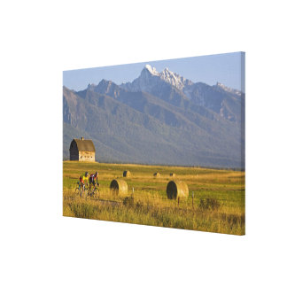 Road bicyclists race down back country road in canvas print