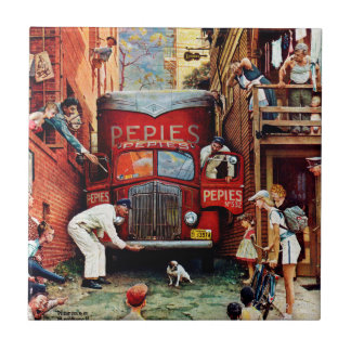 Road Block by Norman Rockwell Ceramic Tile