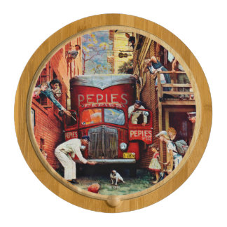Road Block by Norman Rockwell Cheese Board
