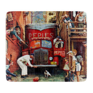 Road Block by Norman Rockwell Cutting Board