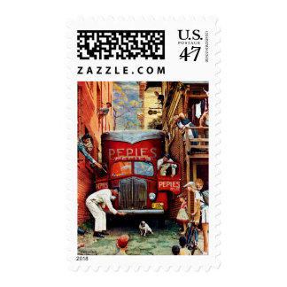 Road Block by Norman Rockwell Postage