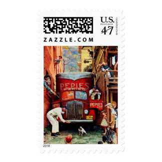 Road Block by Norman Rockwell Postage Stamp